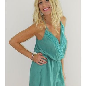 Teal Romper with cross back v neck NWT